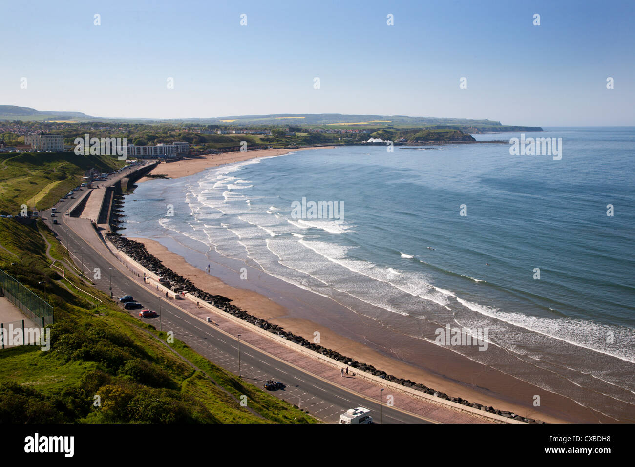 Tide coming in at North Sands, Scarborough, North Yorkshire, Yorkshire, England, United Kingdom, Europe - Stock Image