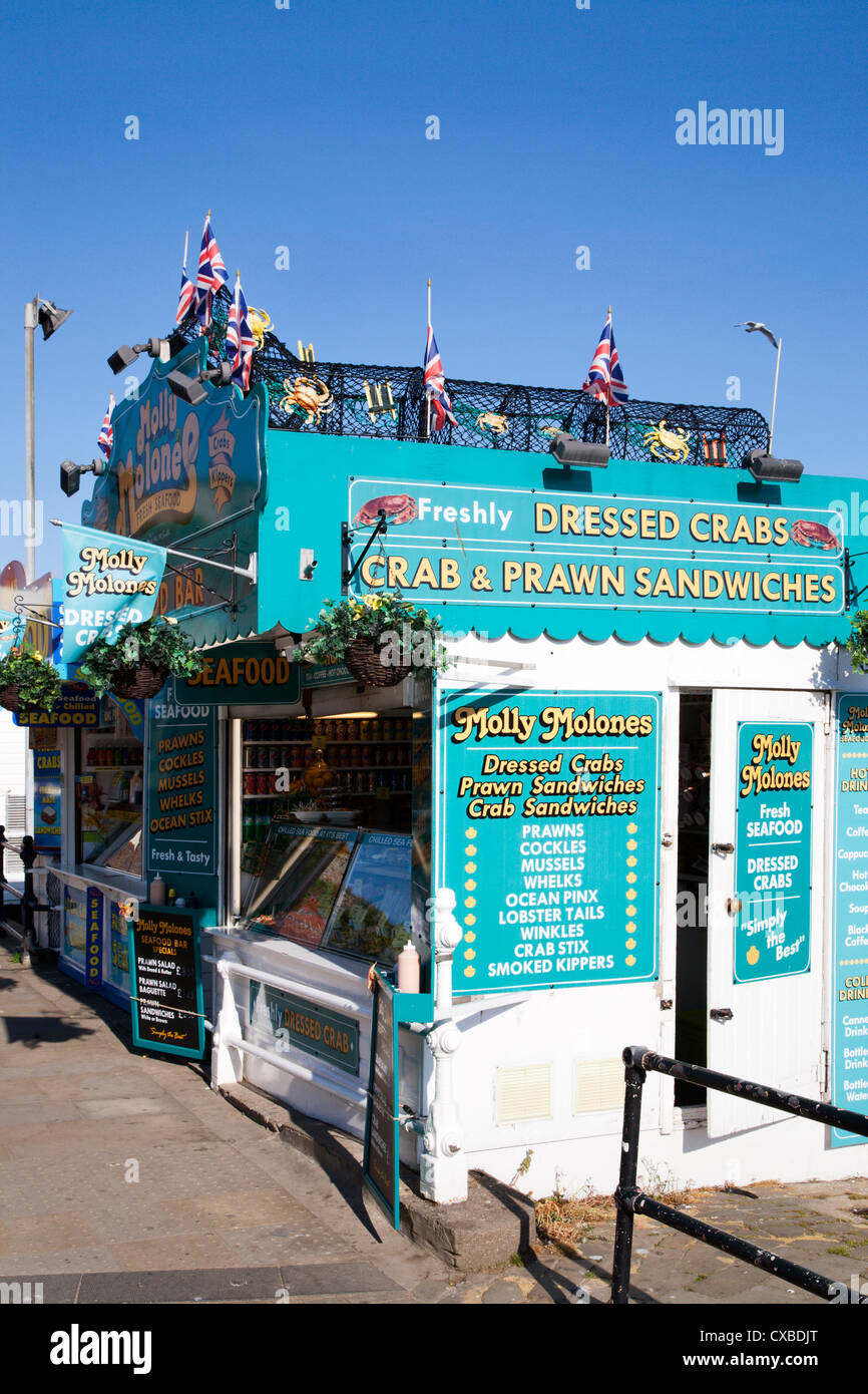 Seafood stall at South Sands, Scarborough, North Yorkshire, Yorkshire, England, United Kingdom, Europe - Stock Image