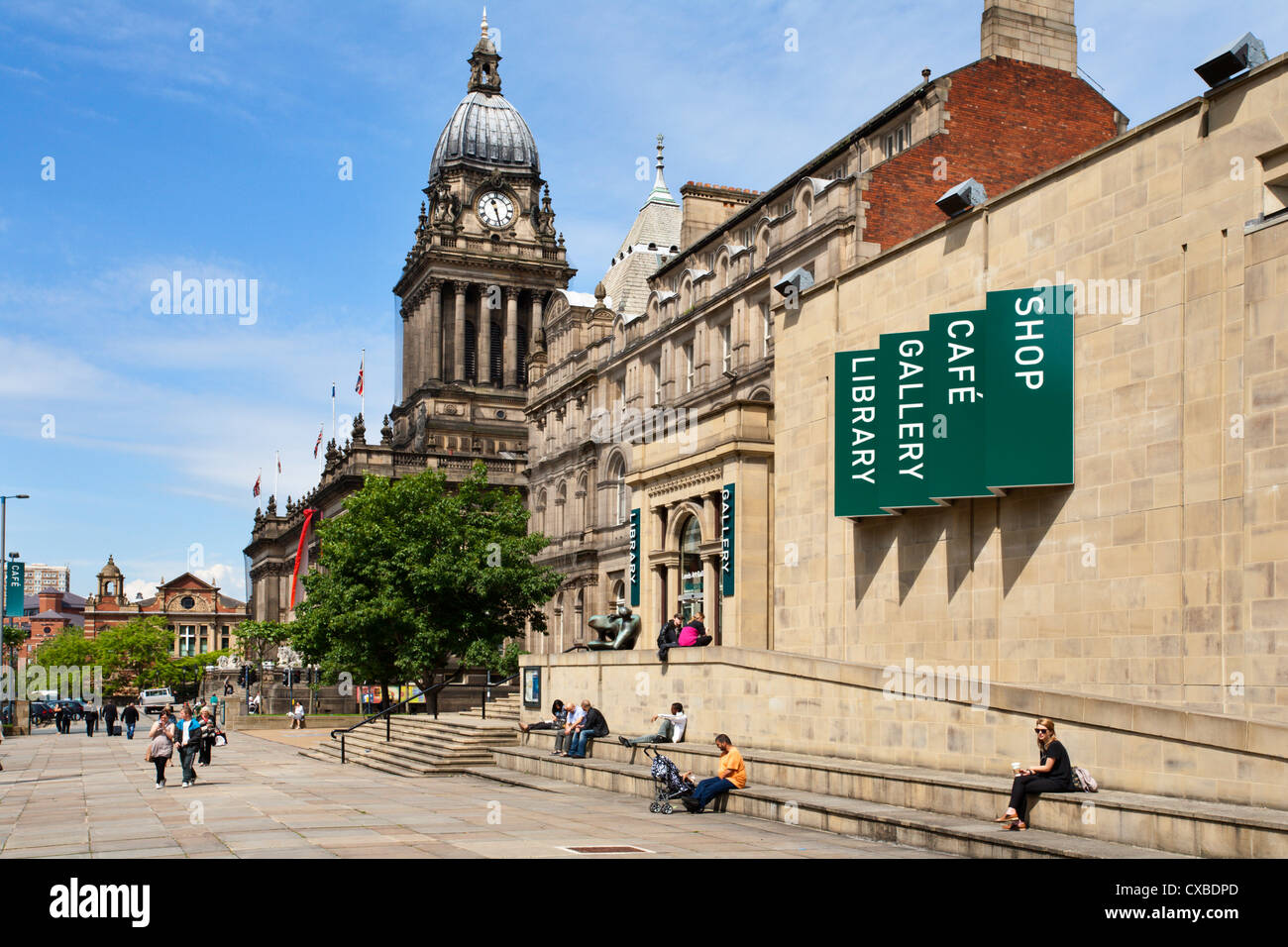 Leeds Library and Town Hall on The Headrow, Leeds, West Yorkshire, Yorkshire, England, United Kingdom, Europe - Stock Image