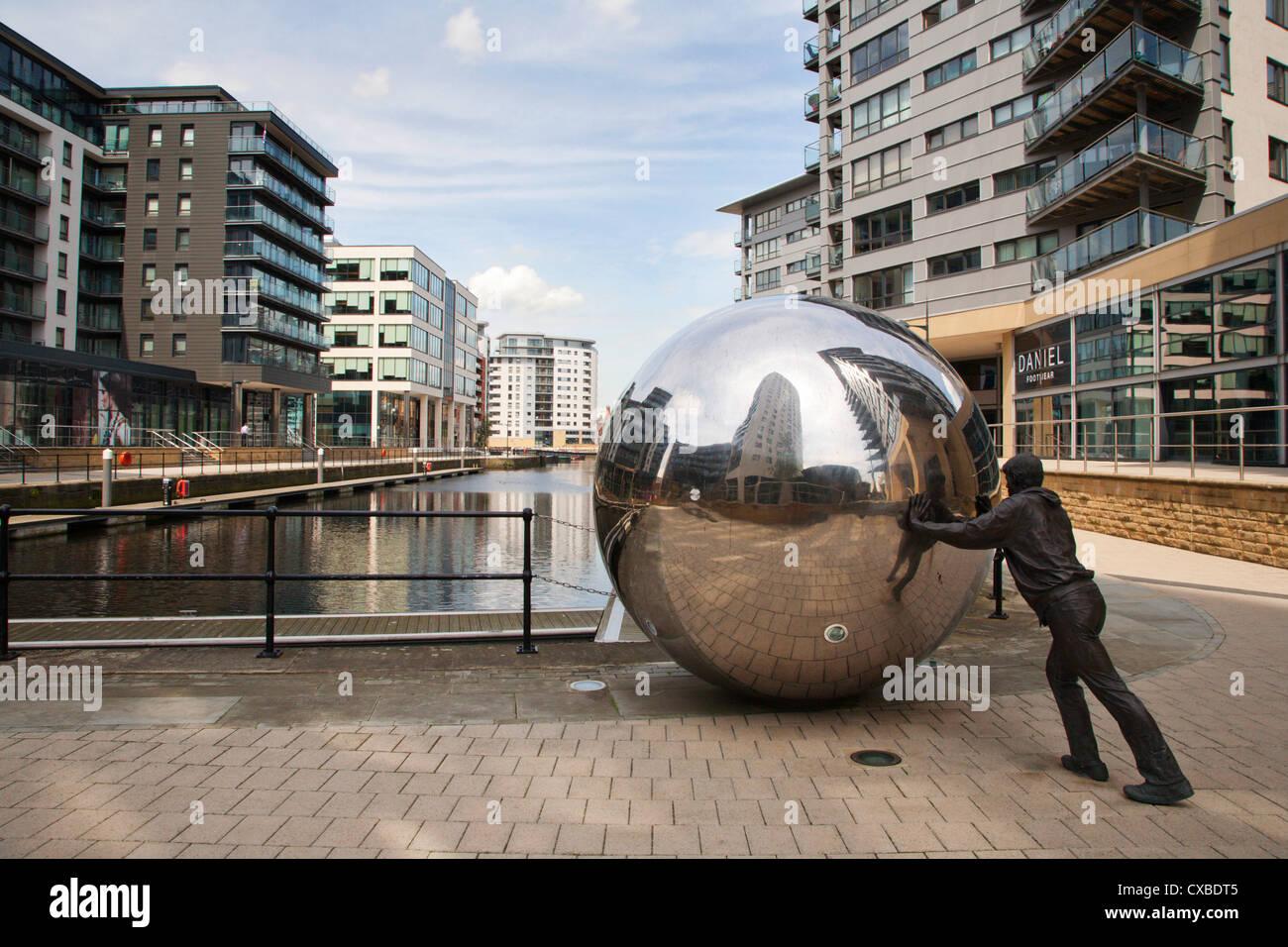 Modern sculpture at Clarence Dock, Leeds, West Yorkshire, Yorkshire, England, United Kingdom, Europe - Stock Image