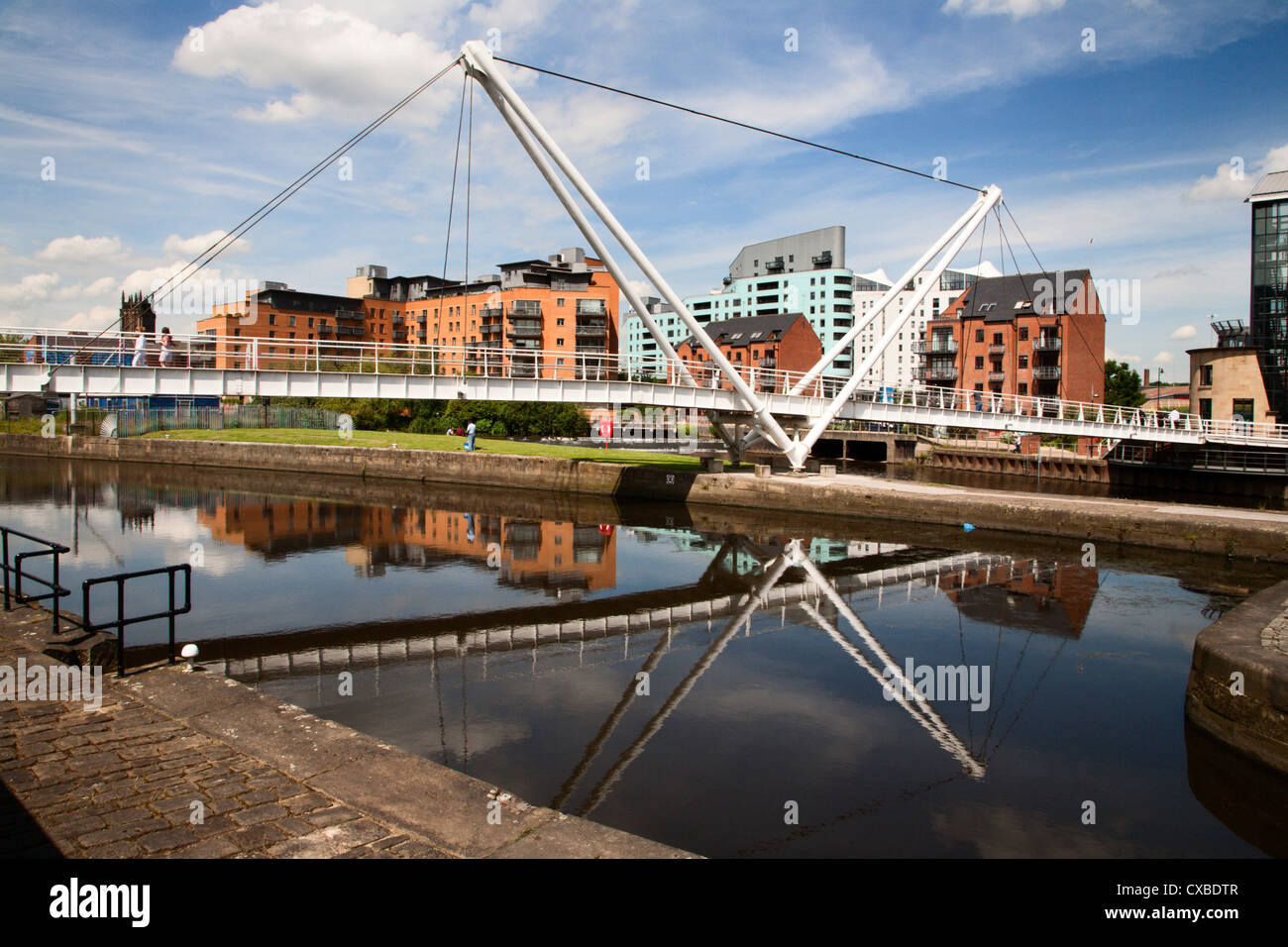 Knights Way Bridge at Leeds Lock No 1, Leeds, West Yorkshire, Yorkshire, England, United Kingdom, Europe - Stock Image