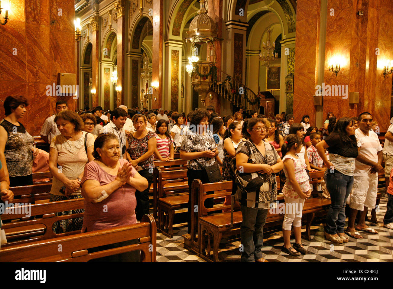 Mass at Iglesia Catedral, the main cathedral on 9 julio square,Salta city, Argentina. - Stock Image