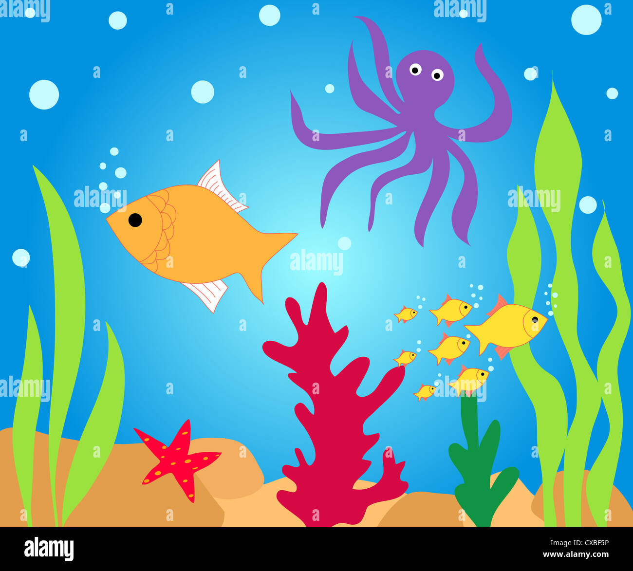 Fishes and water plants illustration Stock Photo