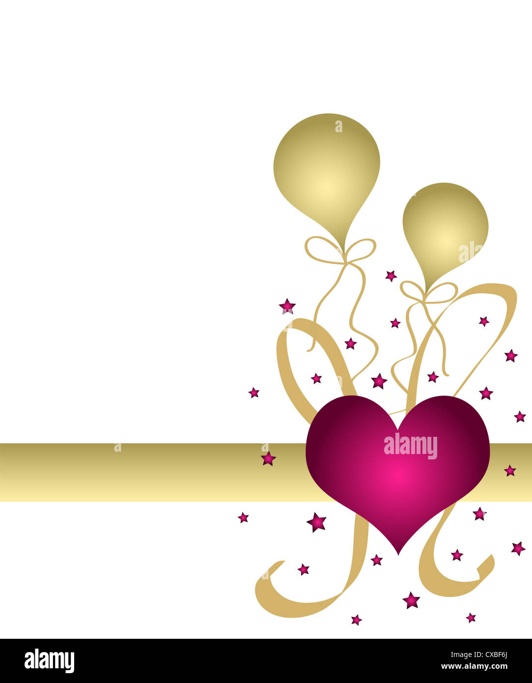 Pink heart and golden balloons Stock Photo