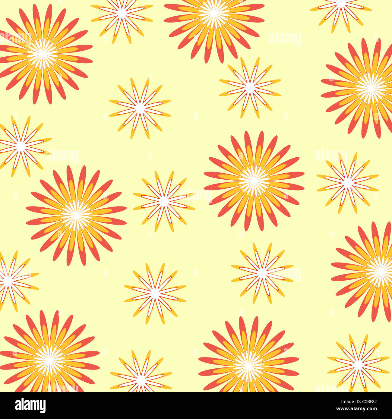Seamless floral pattern in yellow and orange Stock Photo
