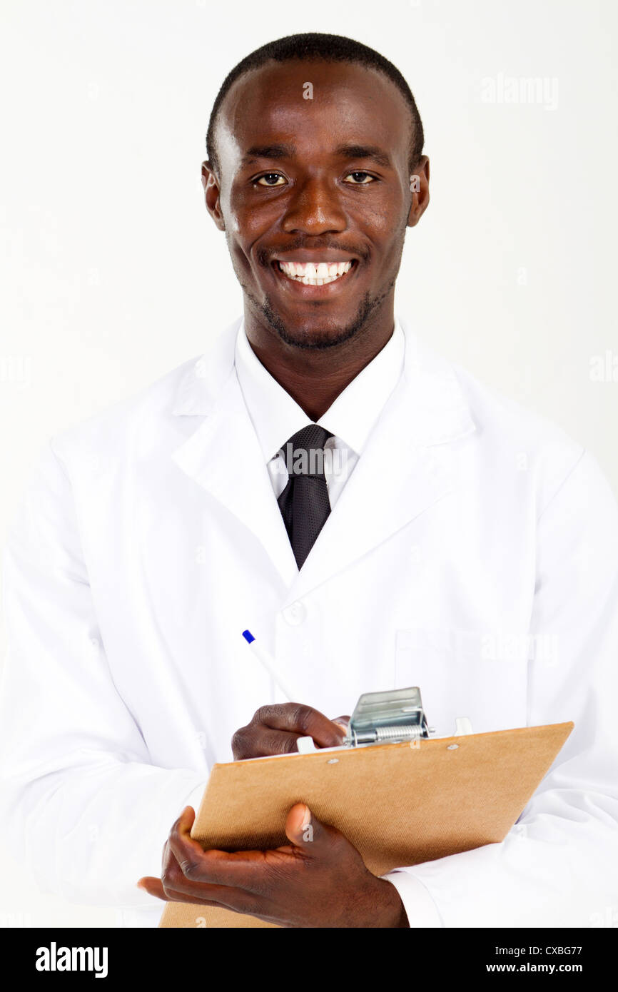 african american male pharmacist with clipboard on white - Stock Image