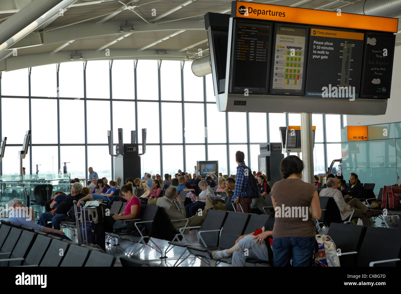 Terminal 5 departure hall, Heathrow Airport, UK - Stock Image