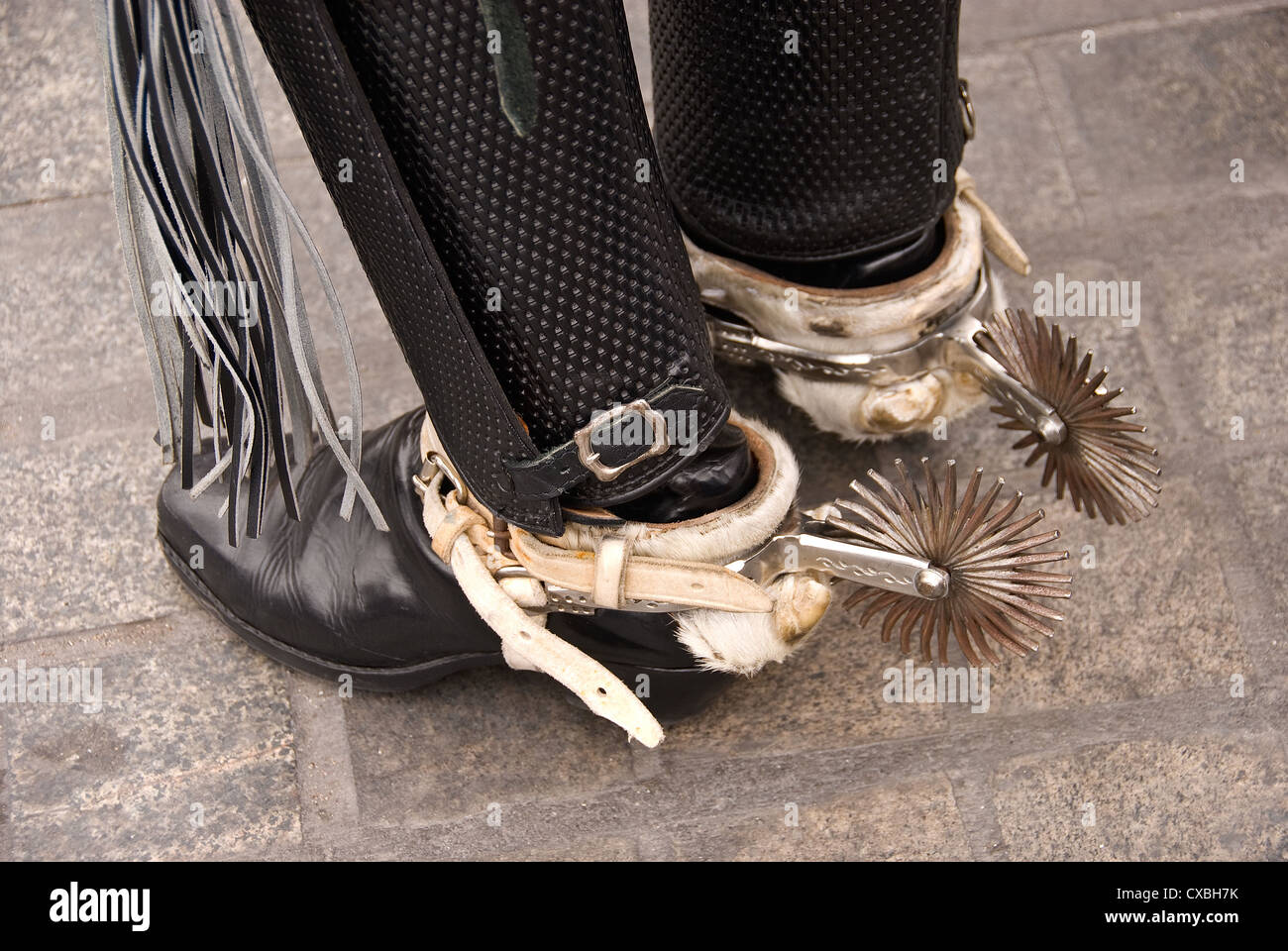 Elk198-2347 Chile, Iquique, traditional dancer, boots with spurs