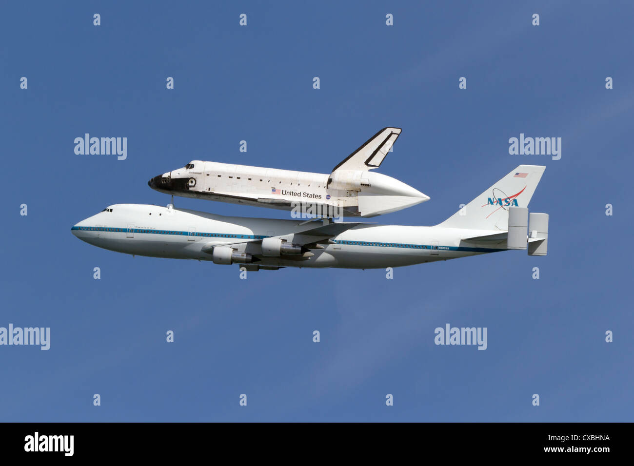 Space Shuttle Endeavour rides atop its 747 escort during the spacecrafts final flight to Southern California. - Stock Image