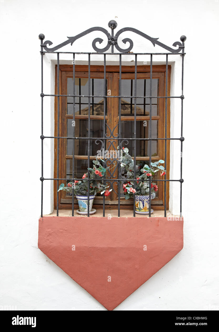 Window Box In Marbella Old Town Spain - Stock Image