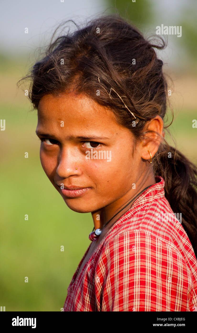 Nepali girl, Bardia, Nepal - Stock Image