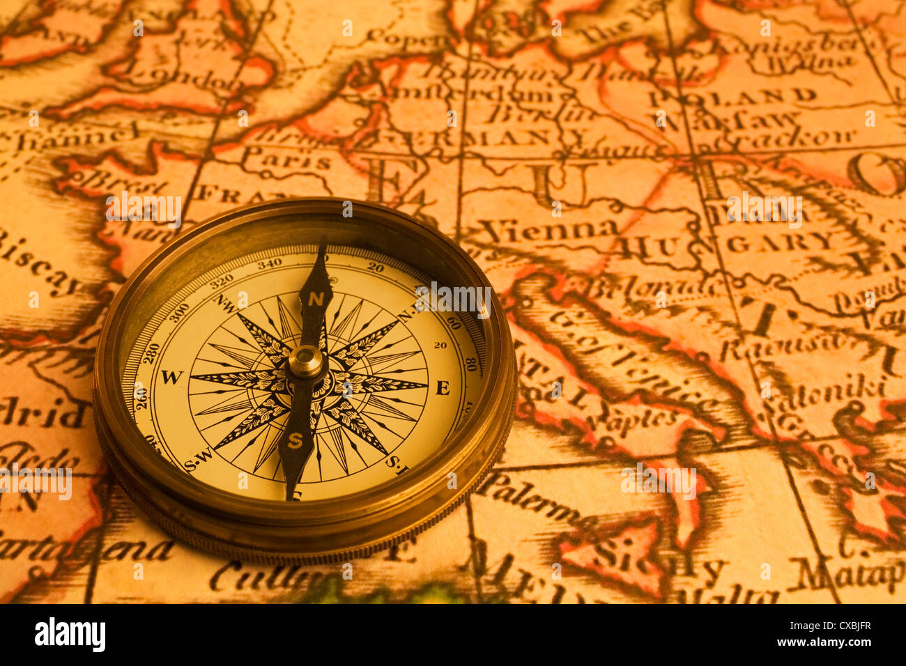 Ancient Map Of Europe And Antique Compass Map Is From 1786 And Is