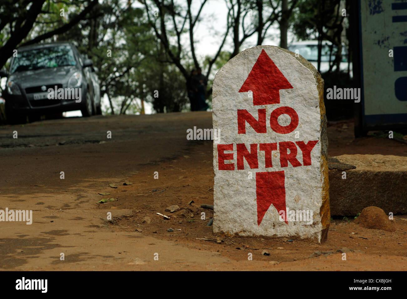 No entry sign at Nandi hills, Bangalore, India - Stock Image