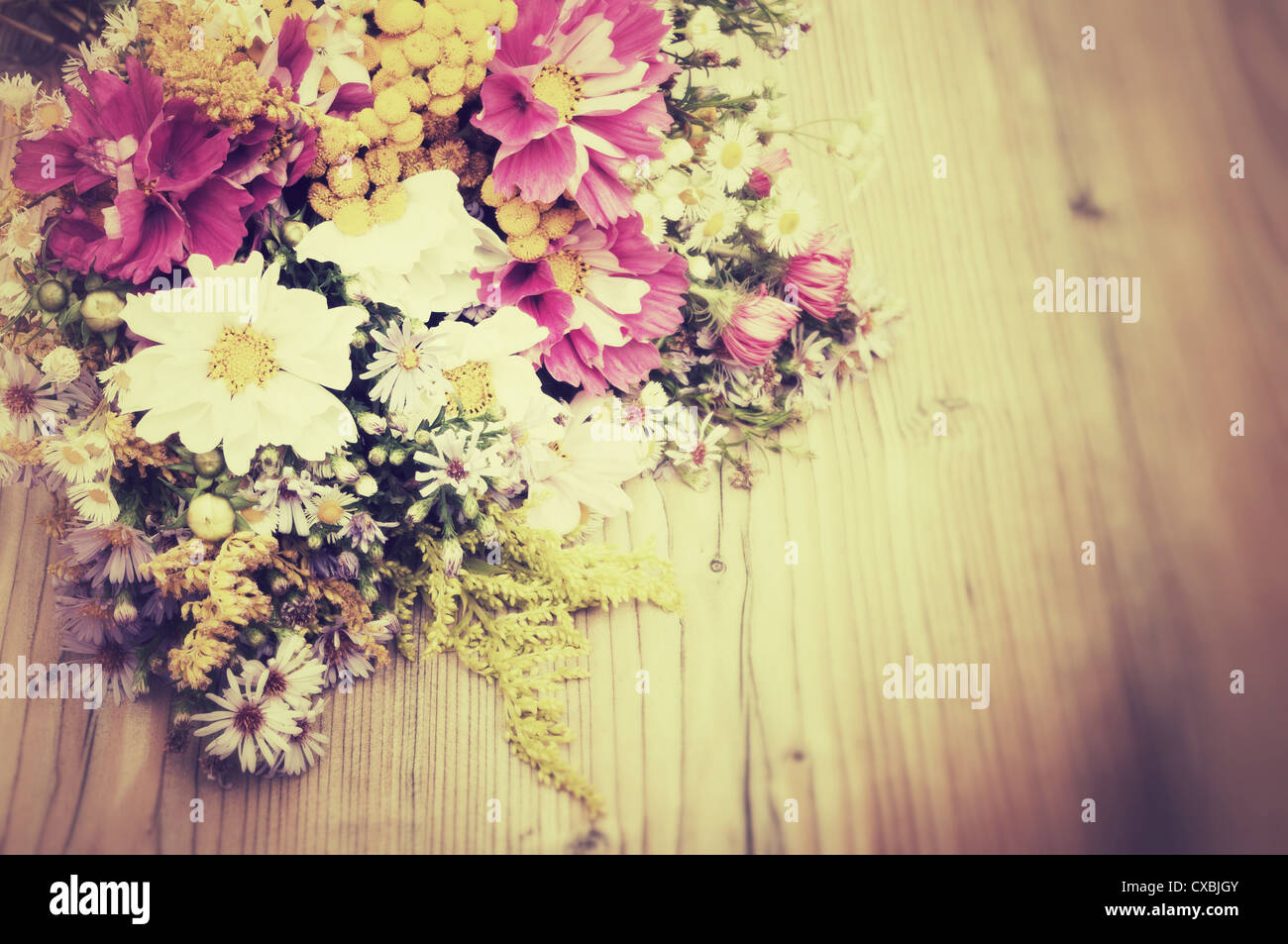 Bouquet of Wild Summer Flowers on Wooden Table - Vintage Look Stock ...