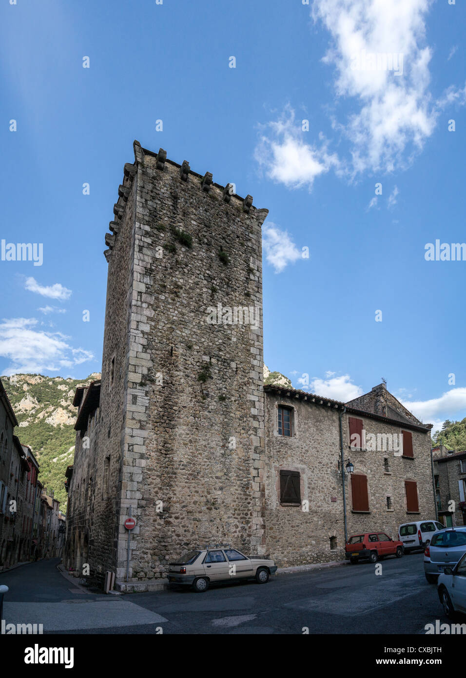 Medieval town Villefranche-de-Conflent in French Pyrenees - Stock Image
