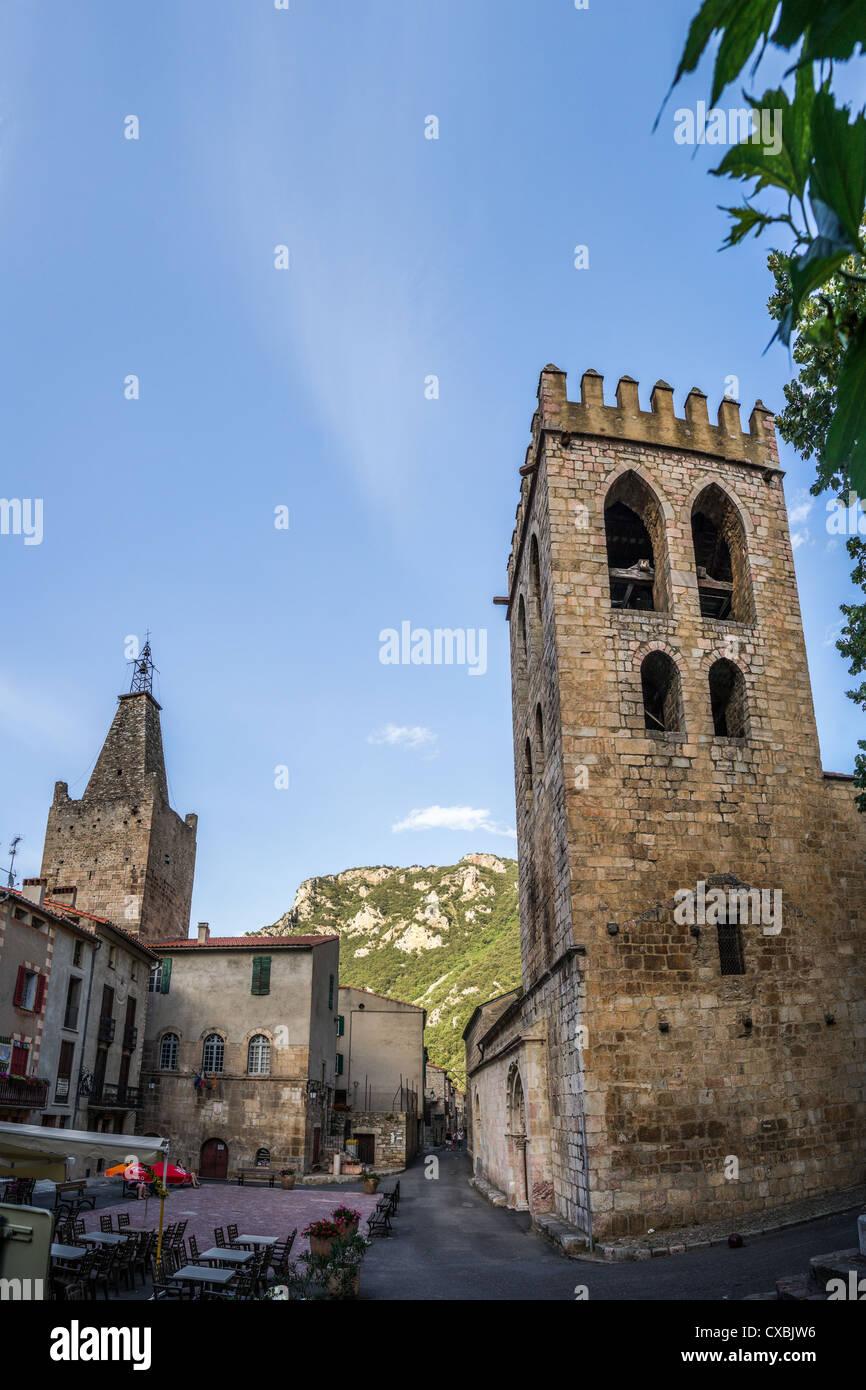 A street with Romanesque church Sant Jaume de Vilafranca de Conflent in Villefranche-de-Conflent in Languedoc, France - Stock Image