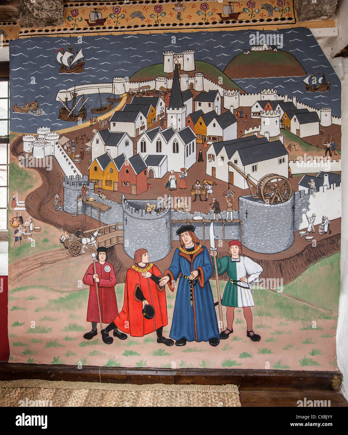 A mural depicting Medieval Tenby, held in the National Trust owned Merchants house, Tenby. - Stock Image
