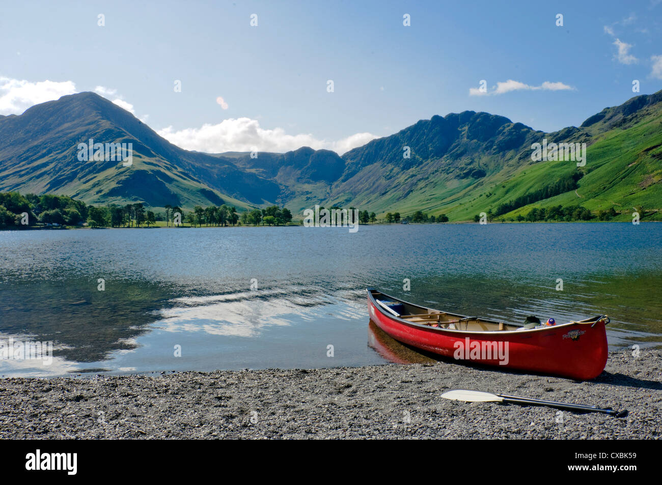 Lake Buttermere with Fleetwith Pike and Haystacks, Lake District National Park, Cumbria, England, United Kingdom, - Stock Image