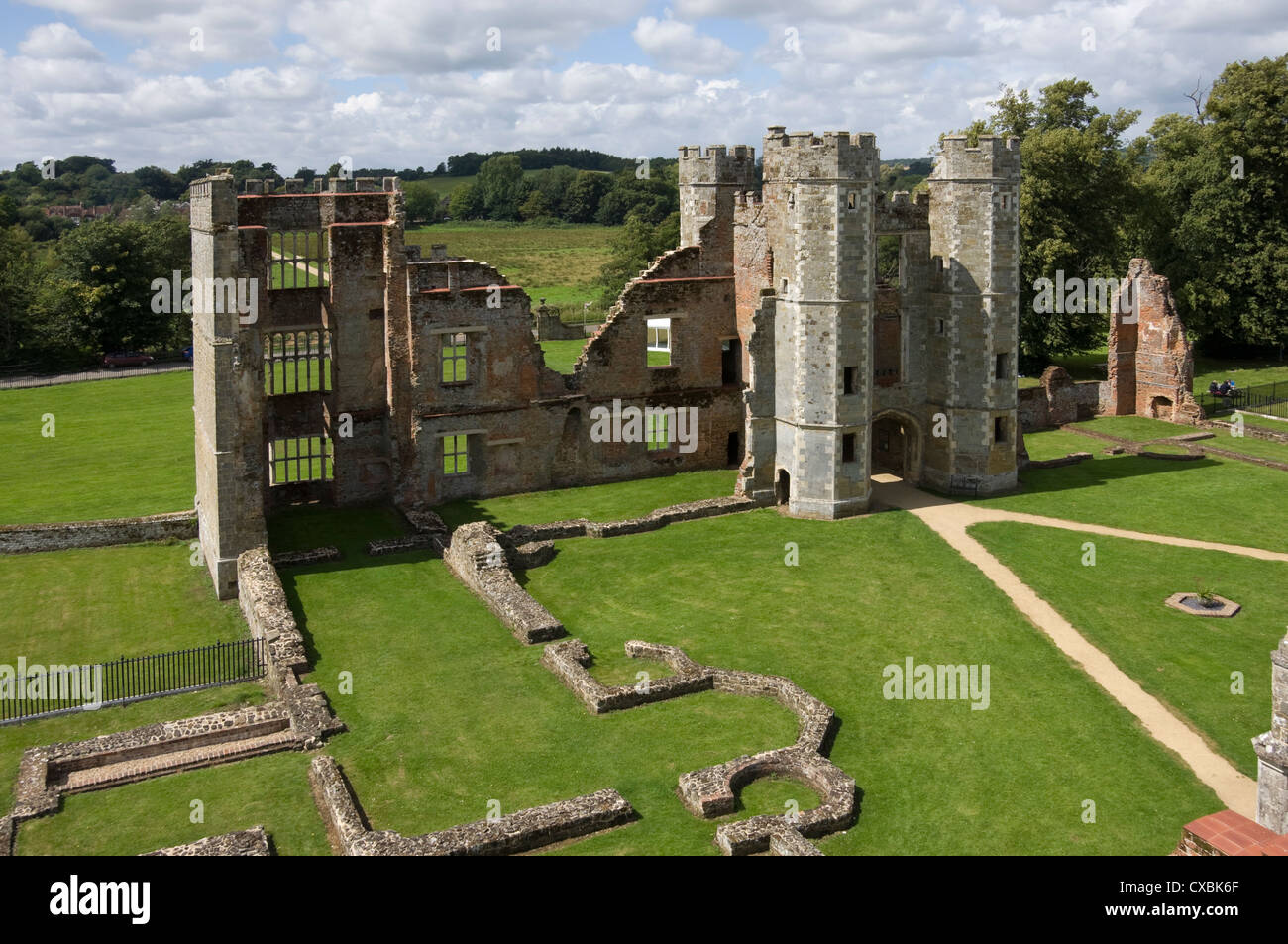 The inner courtyard and gate tower of the 16th century Tudor Cowdray Castle, Midhurst, West Sussex, England, United - Stock Image