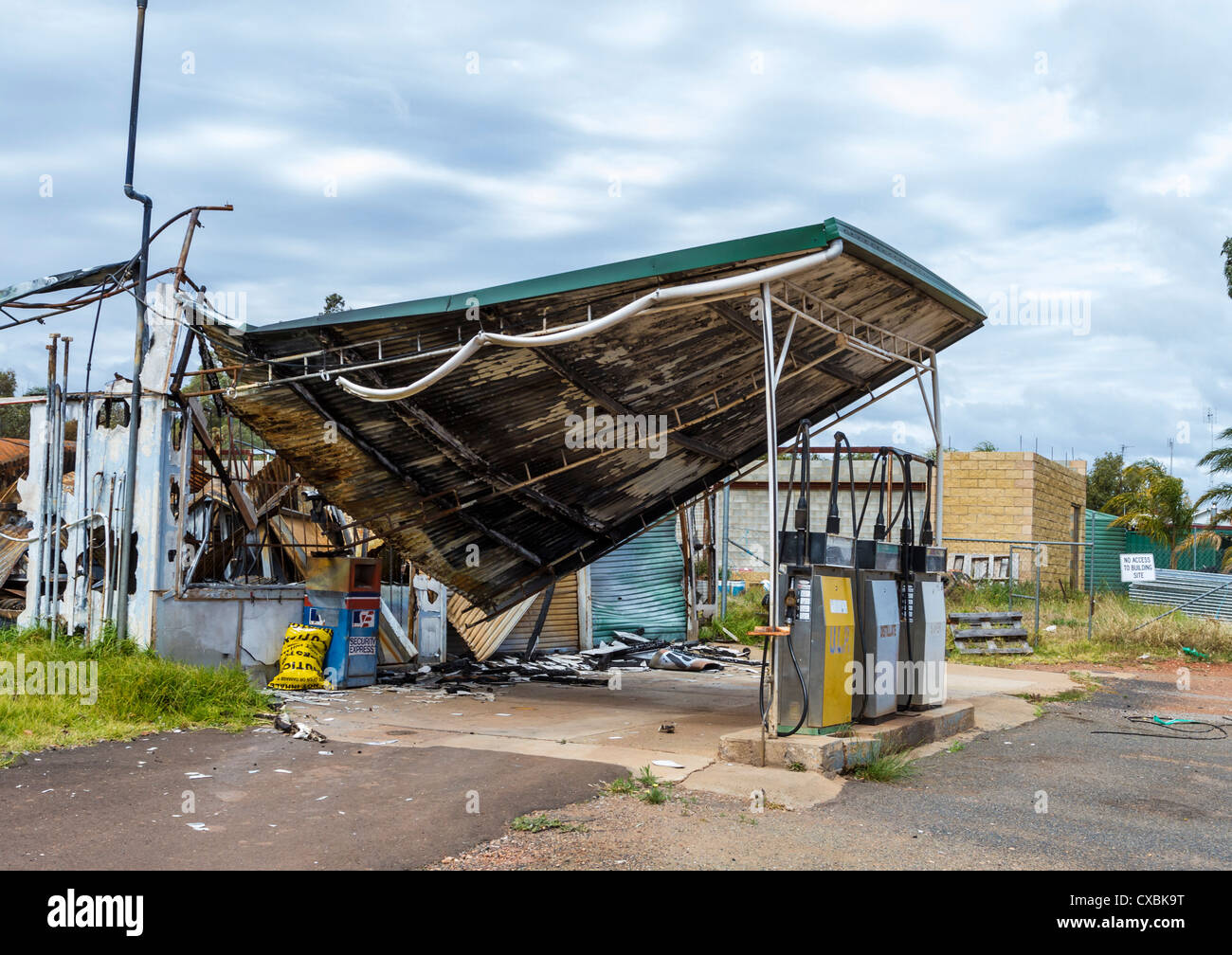 Burnt out service station on Newell Highway, NSW, Australia Stock