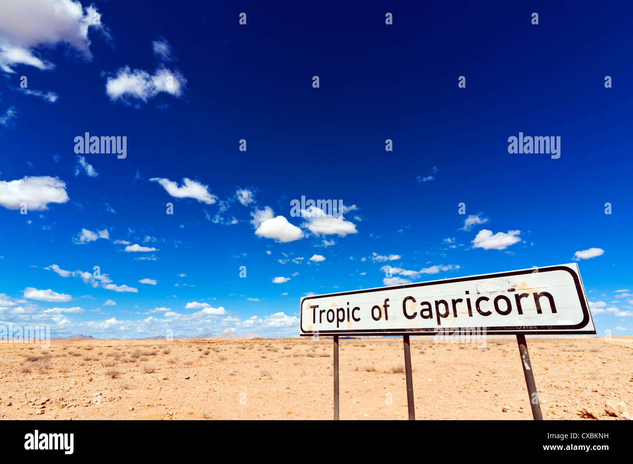 Tropic of Capricorn sign, Namib desert, Namibia, Africa - Stock Image