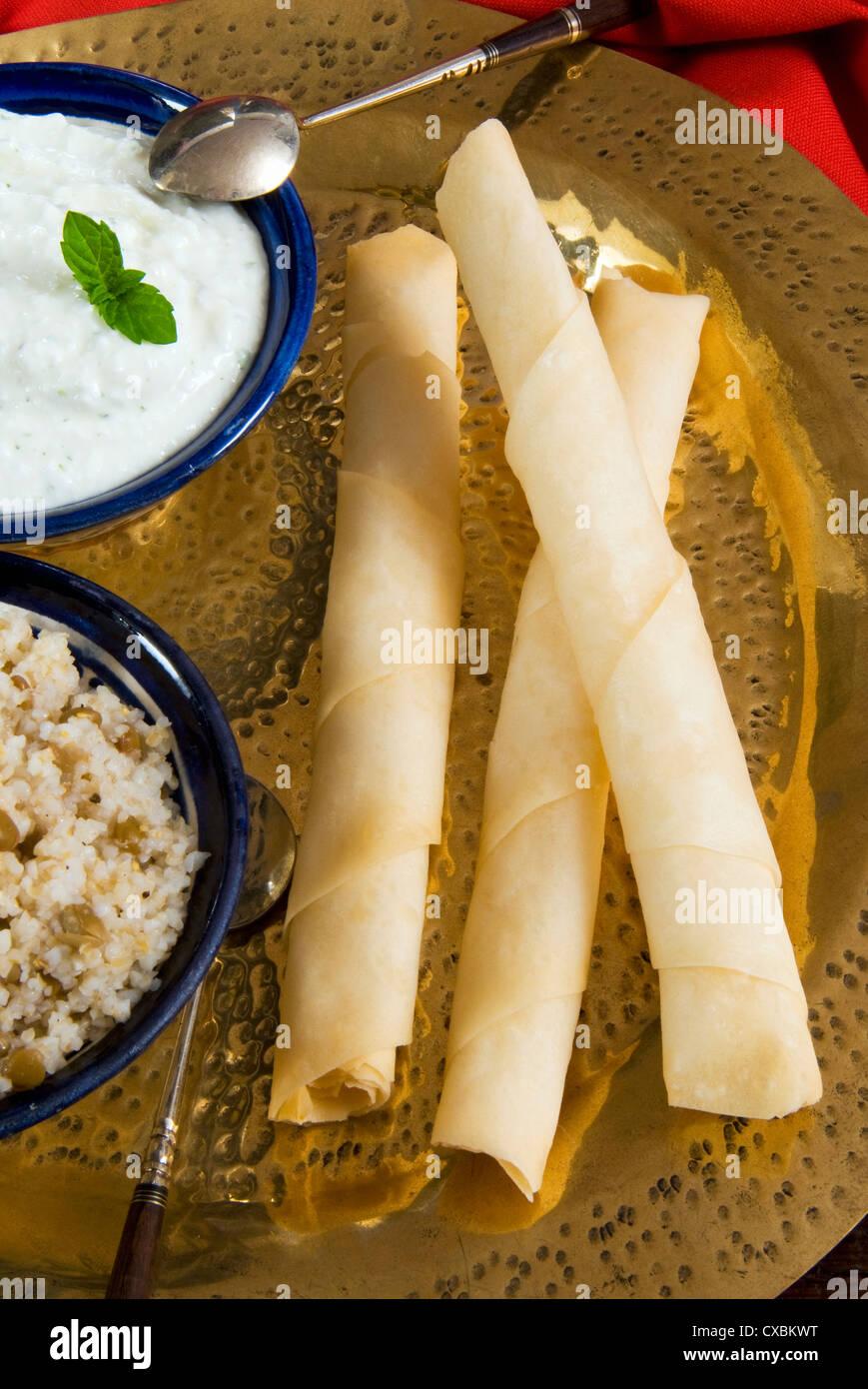 Sigara Boregi with cheese, Turkish food, Turkey, Eurasia - Stock Image