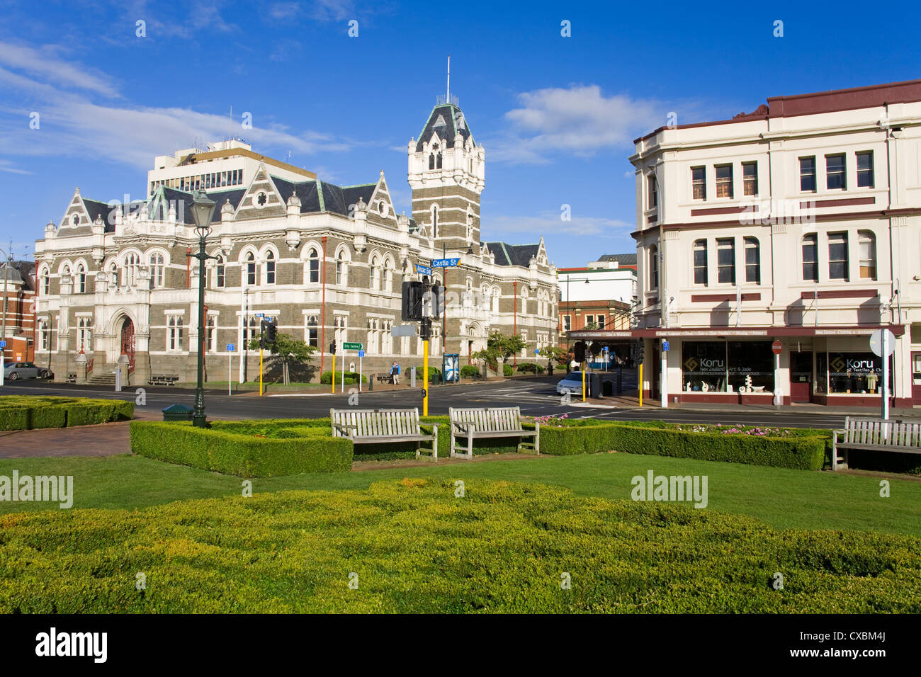 Law Courts Building on Stuart Street, Dunedin, Central Business District, Otago District, South Island, New Zealand, - Stock Image