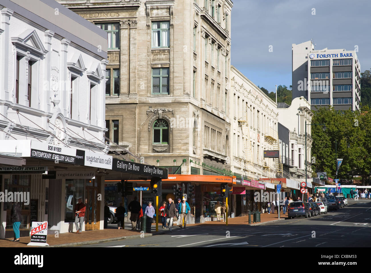 Stuart Street, Dunedin, Central Business District, Otago District, South Island, New Zealand, Pacific - Stock Image