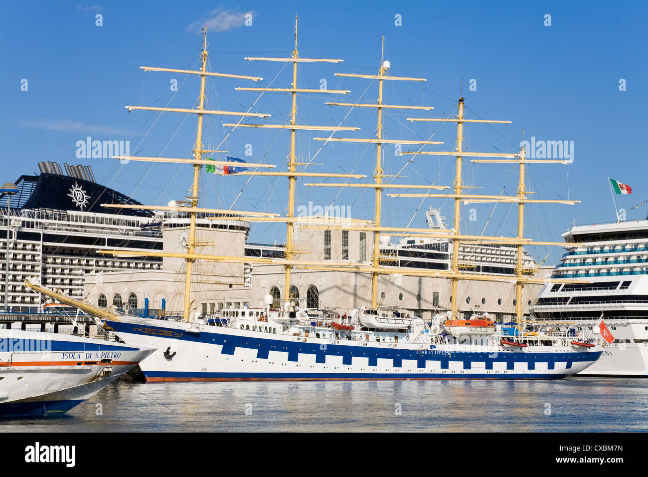 Royal Clipper cruise ship in Naples Port, Campania, Italy, Europe - Stock Image