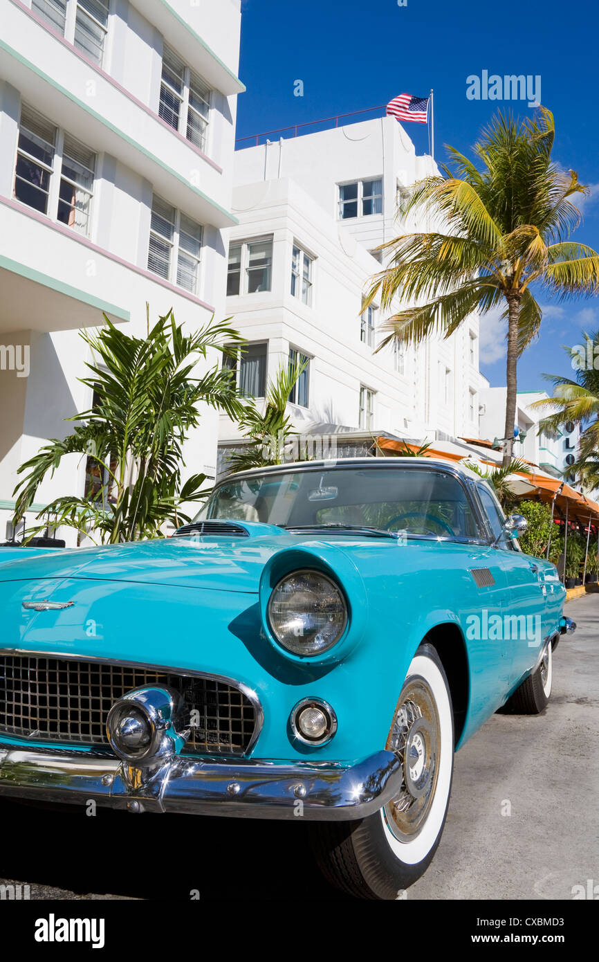 Avalon Hotel and classic car on South Beach, City of Miami Beach ...