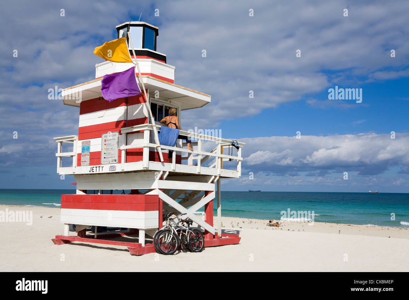 Lifeguard tower on South Beach, City of Miami Beach, Florida, United States of America, North America - Stock Image