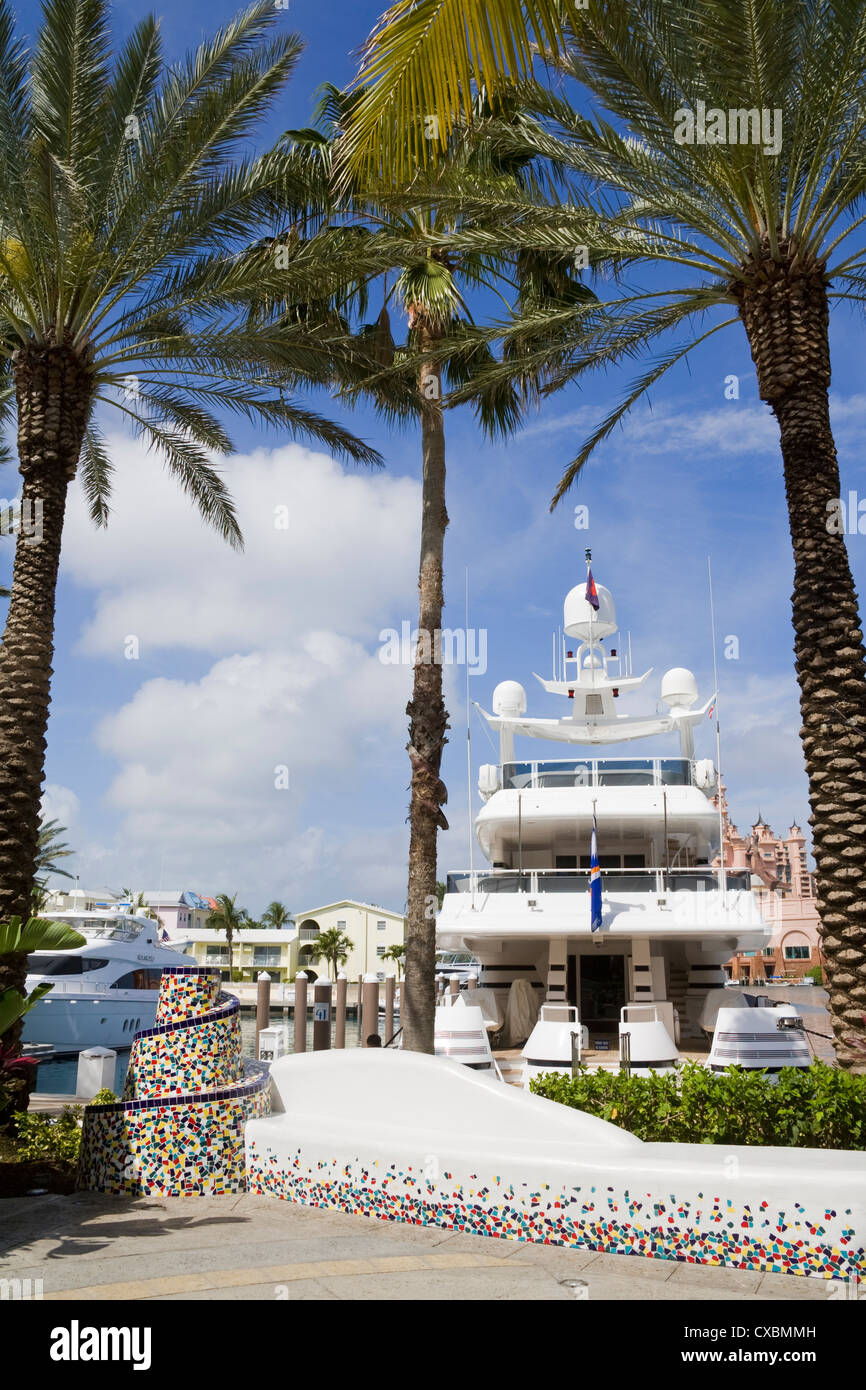 Atlantis Marina on Paradise Island, Nassau City, New Providence Island, Bahamas, West Indies, Central America - Stock Image