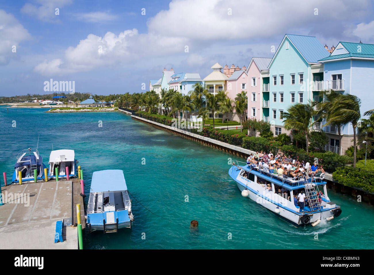 Paradise Island ferry terminal, Nassau City, New Providence Island, Bahamas, West Indies, Central America - Stock Image