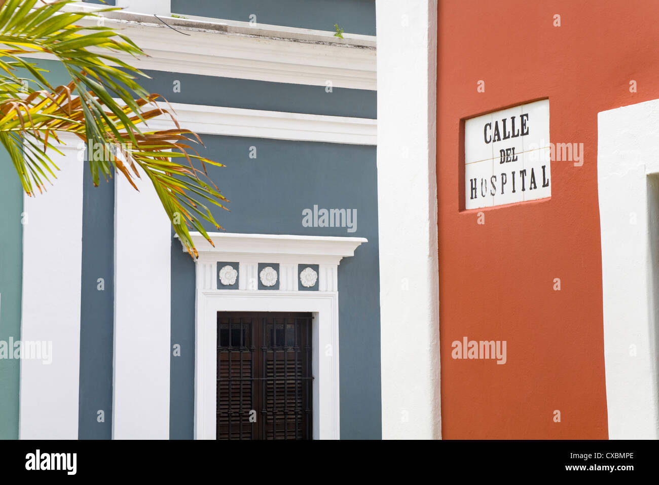 Calle de Hospital in Old City of San Juan, Puerto Rico Island, West Indies, United States of America, Central America - Stock Image
