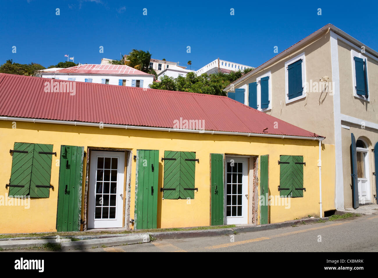 Back Street in Charlotte Amalie, St. Thomas Island, U.S. Virgin Islands, West Indies, Caribbean, Central America Stock Photo