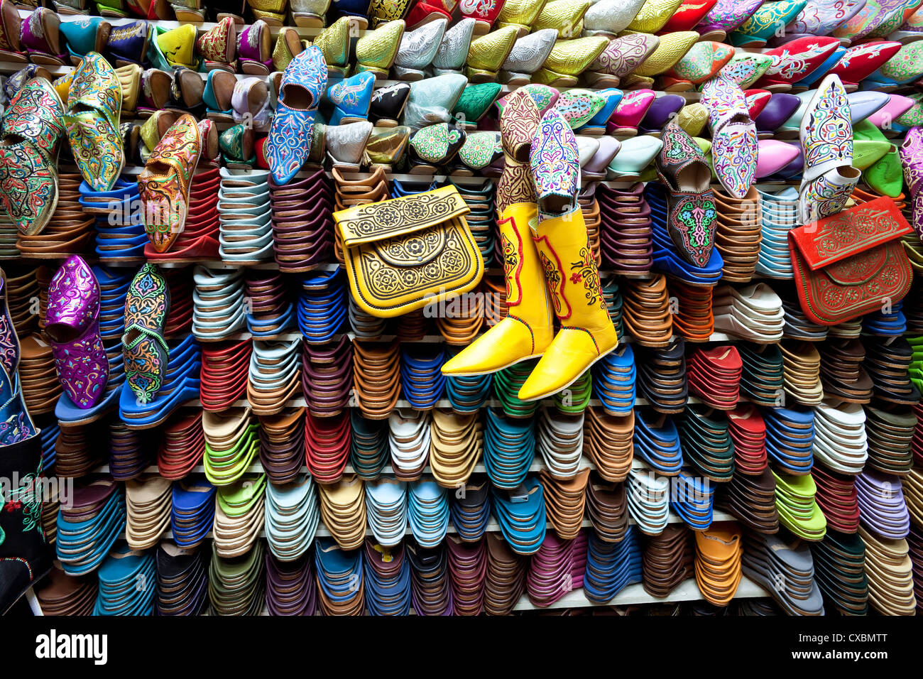 Soft leather Moroccan slippers in the Souk, Medina, Marrakesh, Morocco, North Africa, Africa Stock Photo
