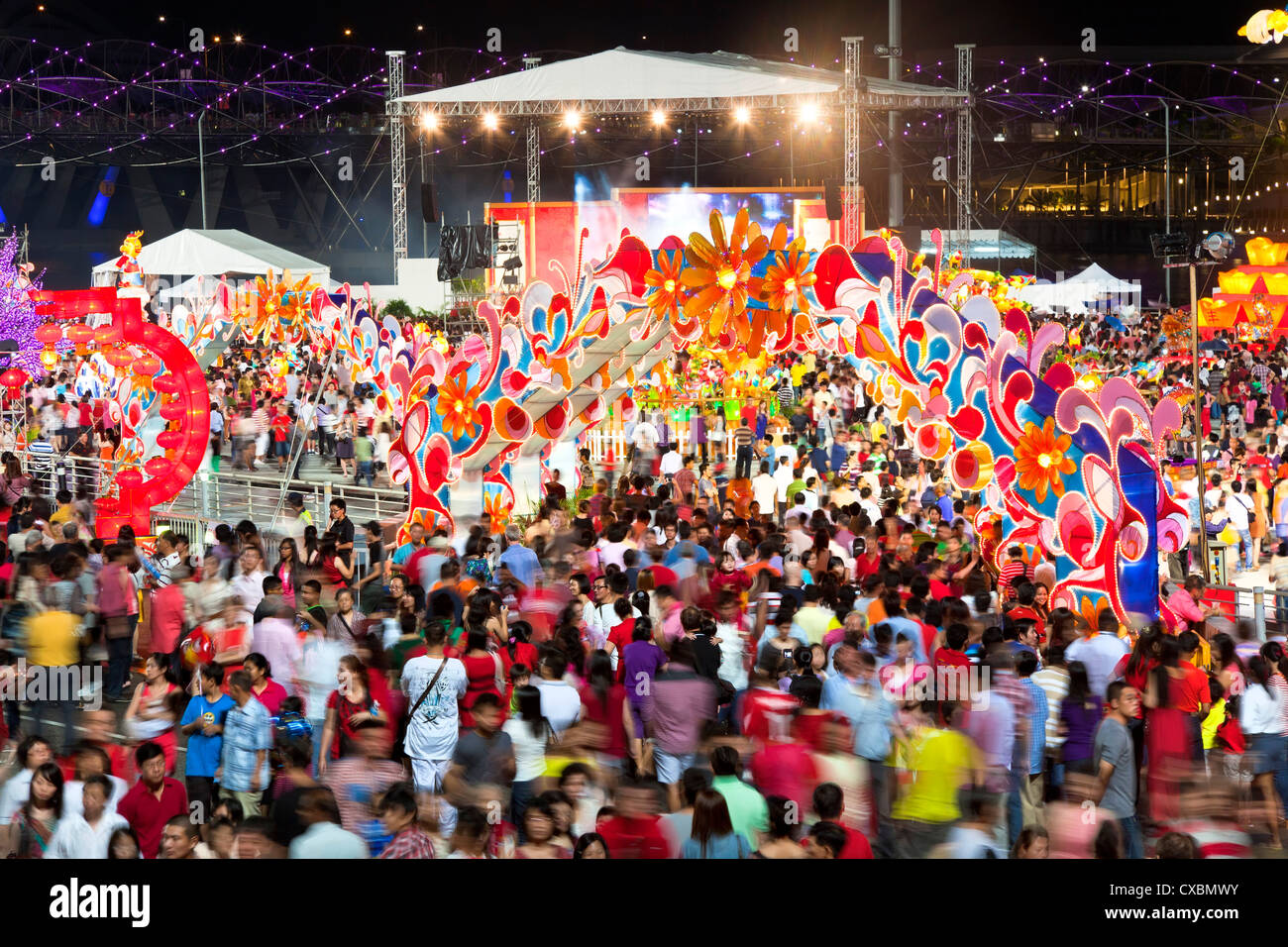 River Hongbao decorations for Chinese New Year celebrations at Marina Bay, Singapore, Southeast Asia, Asia Stock Photo