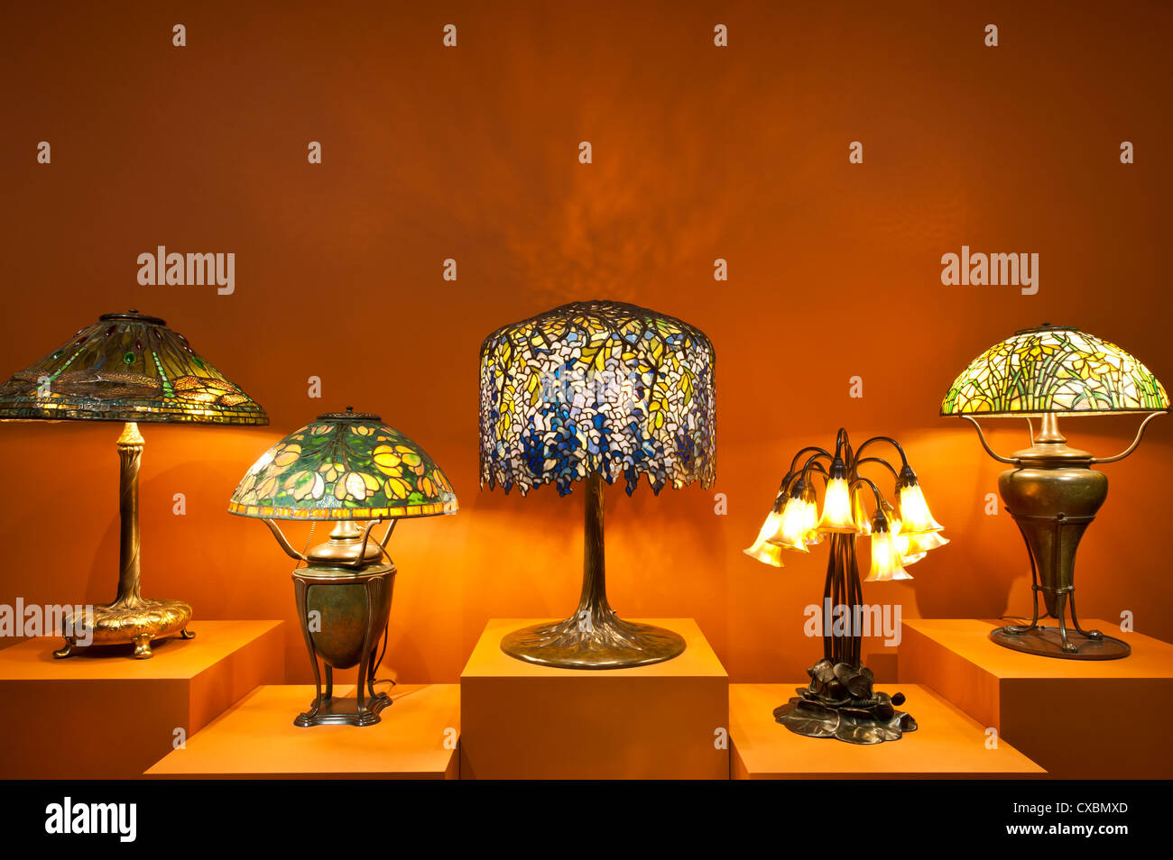 Tiffany lamps, the Charles Hosmer Morse Museum, Winter Park, Florida, United States of America, North America - Stock Image
