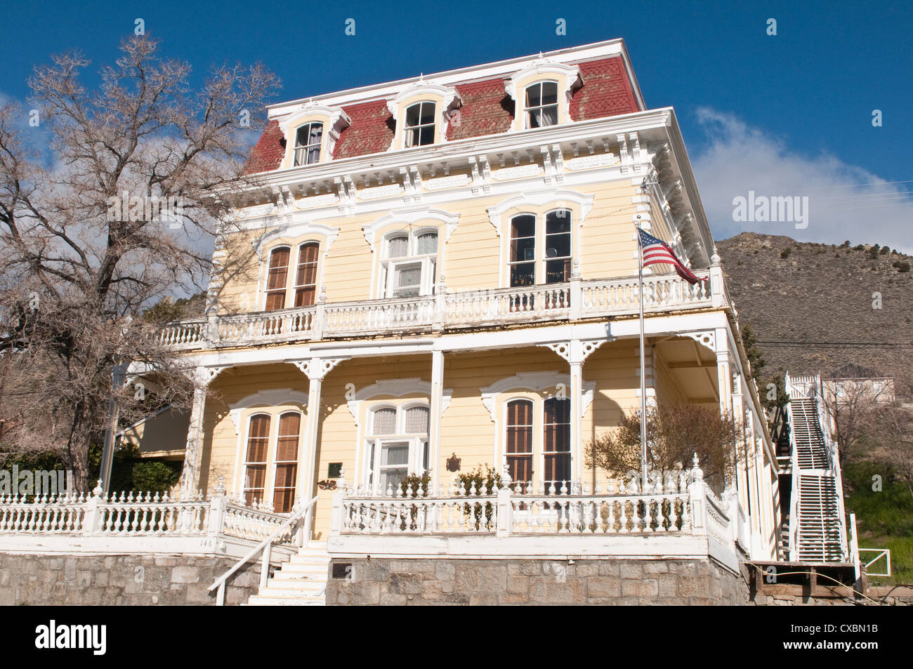 Savage Mansion dating from around 1861, Virginia City, Nevada, United States of America, North America - Stock Image