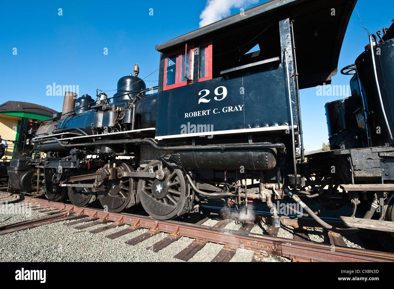 Old steam locomotive at historic Gold Hill train station, outside Virginia City, Nevada, United States of America, - Stock Image
