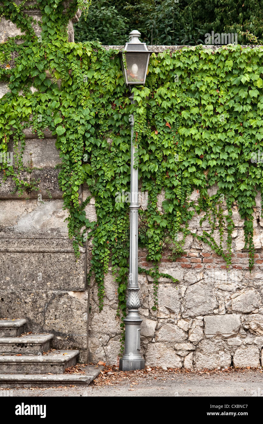 Italy. A creeper-covered old stone wall and lamp post - Stock Image
