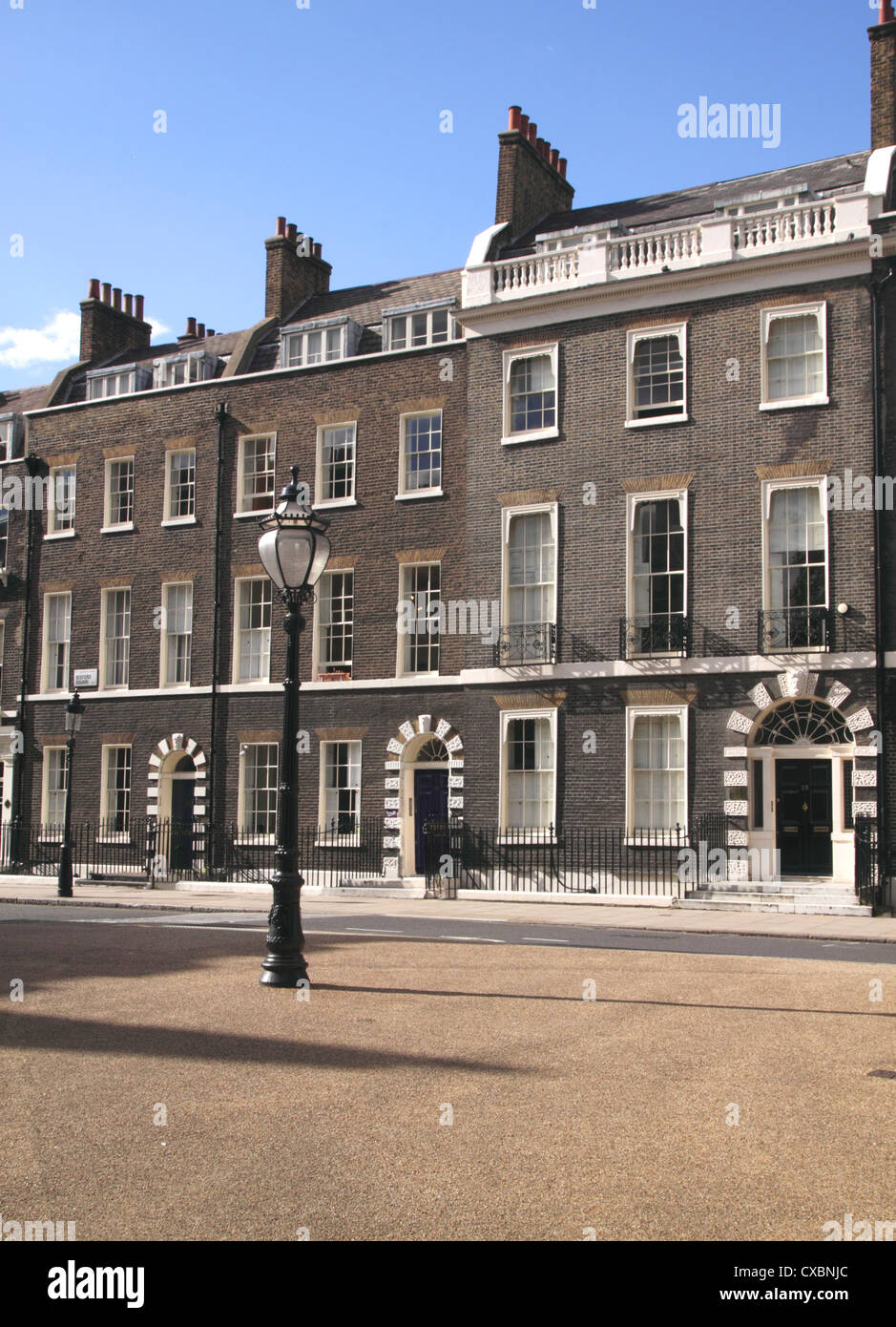 Terraced houses Bedford Square Bloomsbury London - Stock Image