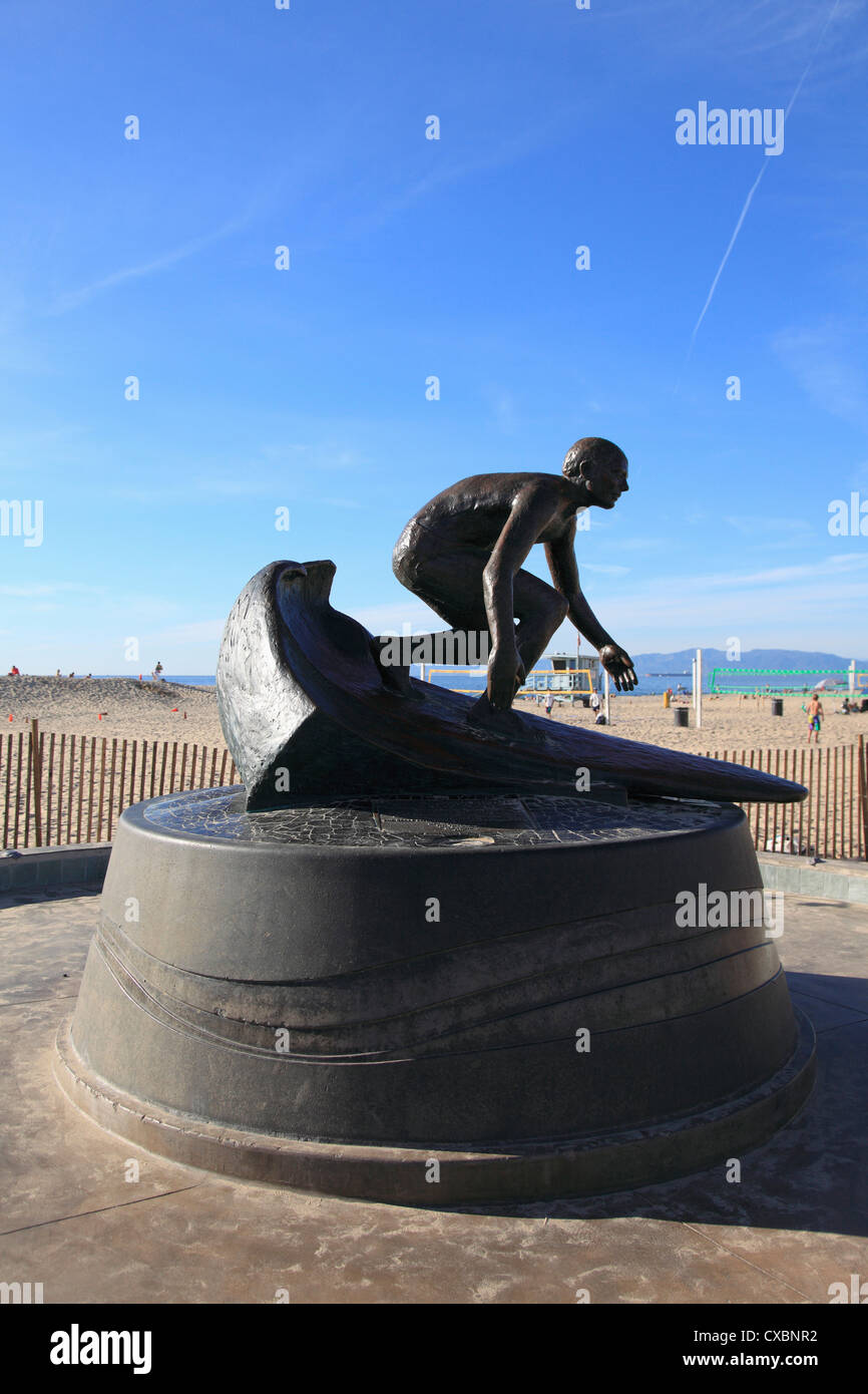 Tim Kelly Lifeguard Memorial Sculpture, Hermosa Beach, Los Angeles, California, United States of America, North - Stock Image