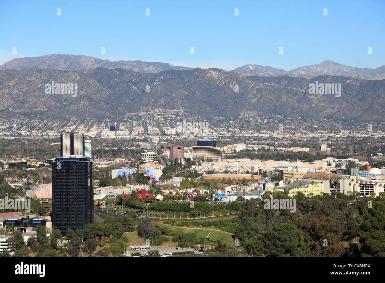 Universal Studios, San Fernando Valley, San Gabriel Mountains, Burbank, Los Angeles, California, United States of - Stock Image