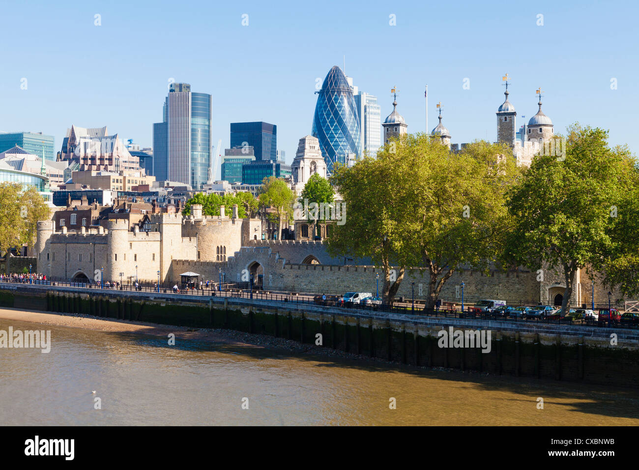 City of London financial district buildings and the Tower of London, London, England, United Kingdom, Europe - Stock Image