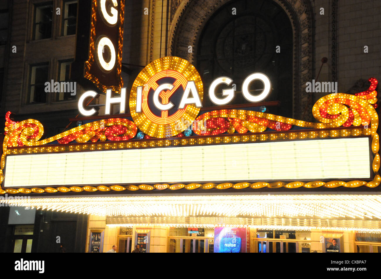 CHICAGO THEATRE MARQUEE,STATE STREET,CHICAGO,ILLINOIS - Stock Image