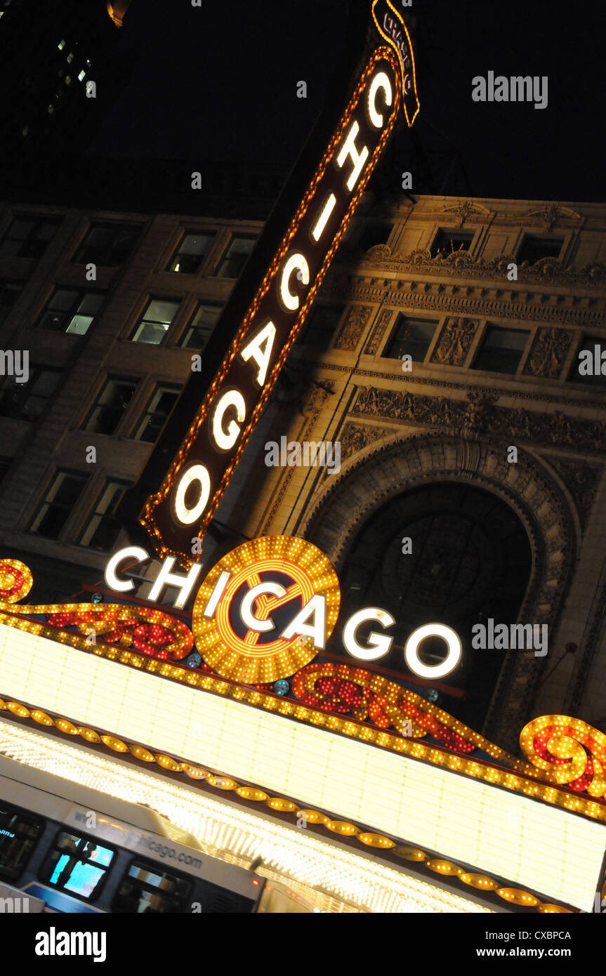 CHICAGO THEATRE MARQUEE,STATE STREET,CHICAGO,ILLINOIS,USA - Stock Image