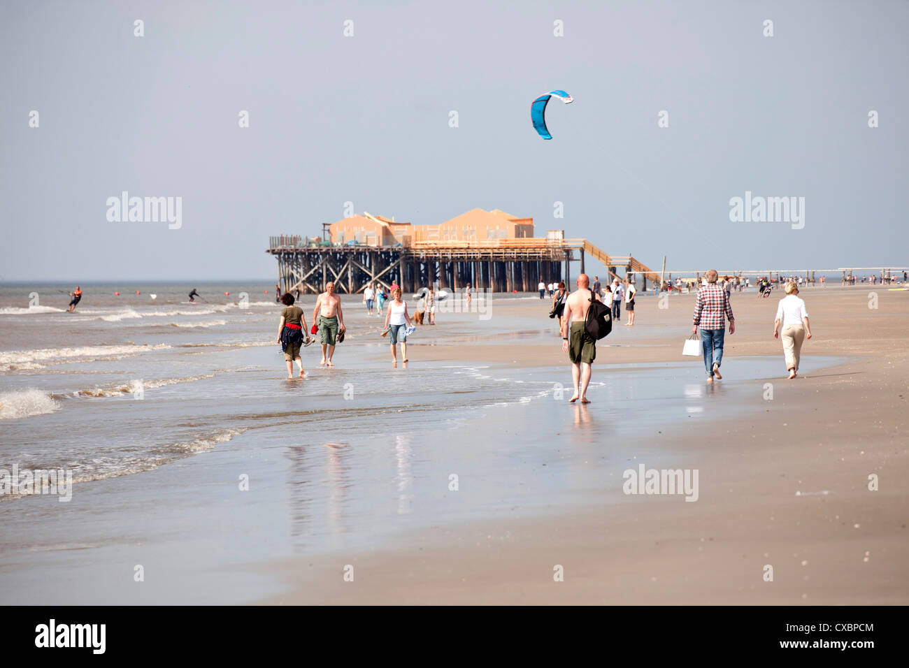 sandy beach of St. Peter-Ording, district of North Friesland, Schleswig-Holstein, Germany, Europe - Stock Image