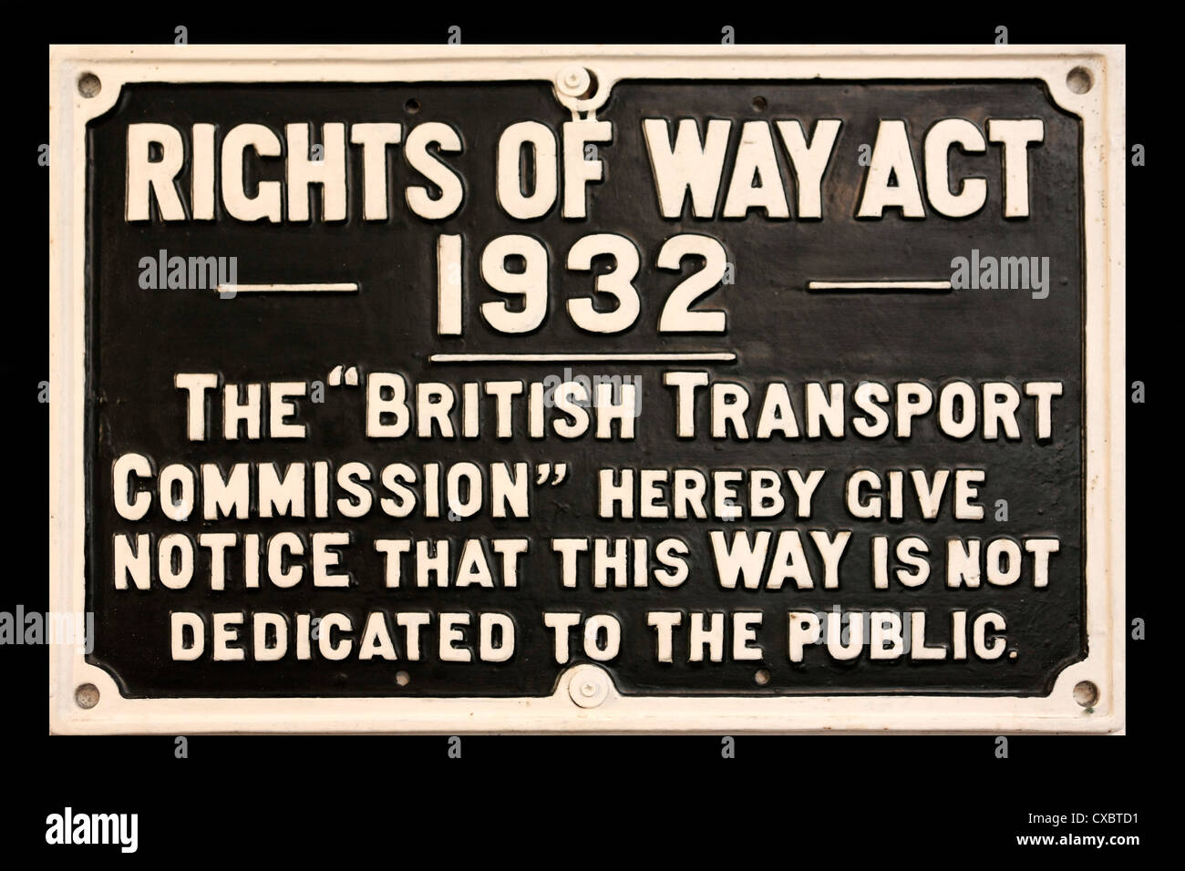 Rights of Way Act of 1932 Vintage Railways sign - Stock Image