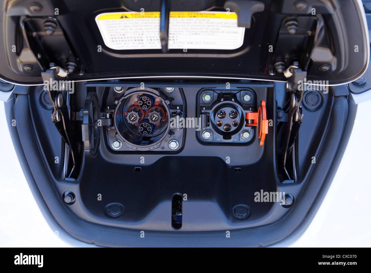 Nissan LEAF electric car power plug - Stock Image